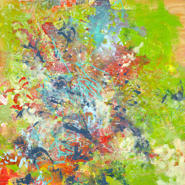 Abstract Art - Bold Green and Colorful Expressionistic Art for Sale