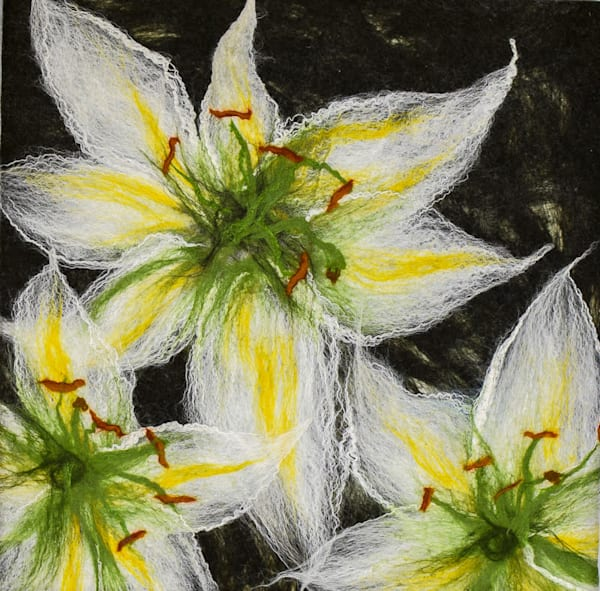 Evening Lily Original Felted artwork