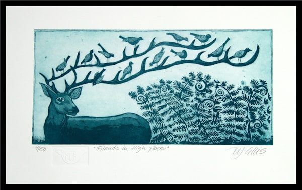stag etching by printmaker Mariann Johansen-Ellis, an aquatint etching hand printed on paper in vibrant colors. art, paintings