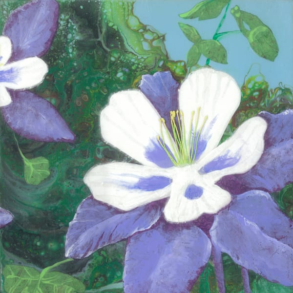 Columbine #5 Collage Painting by Jenny Goring