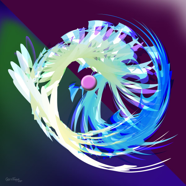 Cool colors conch spiral / Digital painting / Descent 01 / Grey Forge LeFey