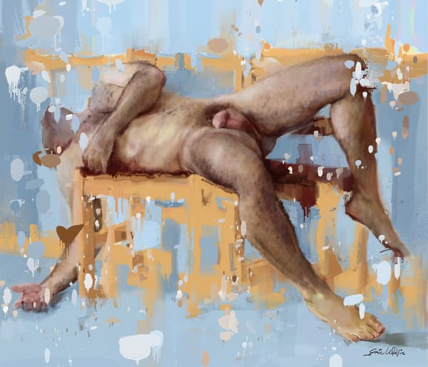 "Digital painting by Eric Wallis titled, ""Reclining Man."""