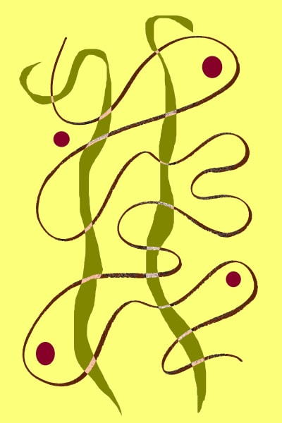 Continuous Line with Strands on Yellow