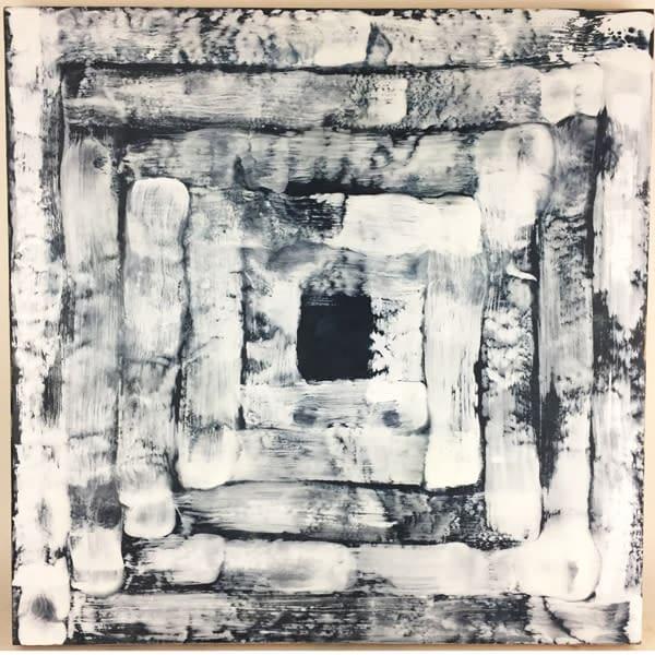 Indigo with White Concentric Squares