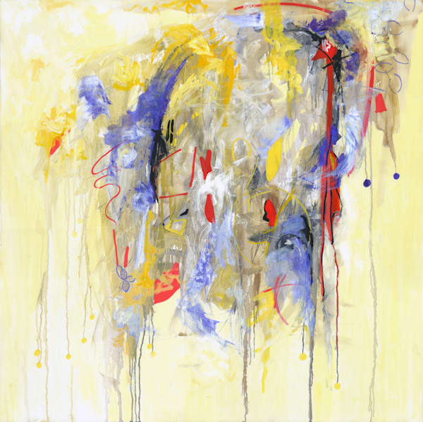Abstract Art - Yellow and Blue Expressionistic Art for Sale