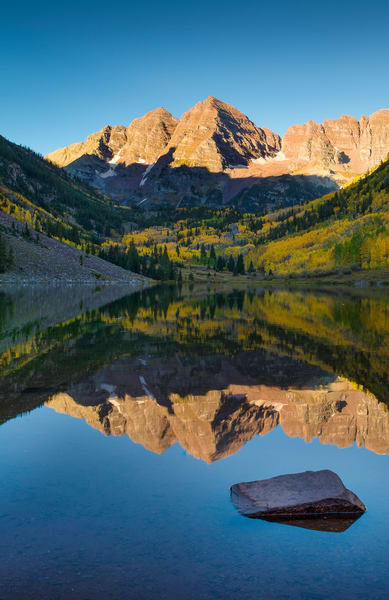 Vertical Photo of Aspen Maroon Bells in Colorado Reflecting Upon Maroon Lake