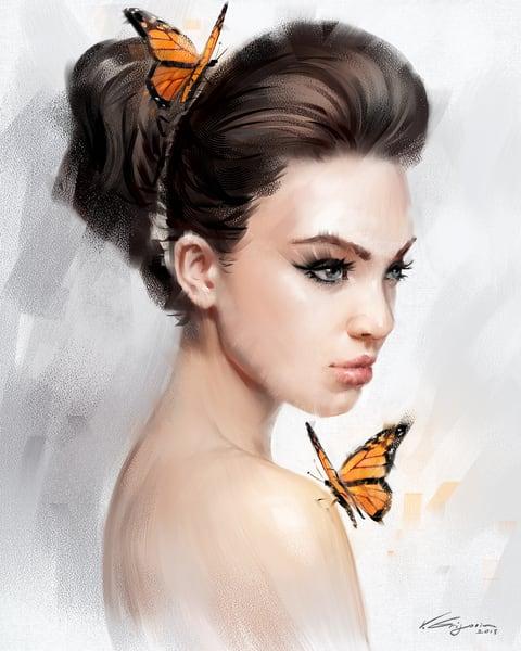 Orange Butterflies - Fine Art by Vahe Grigorian Los Angeles Artist - Digital Prints available for Canvas, HD Acrylic and more.custom art, digital portrait, portraits , art for sale
