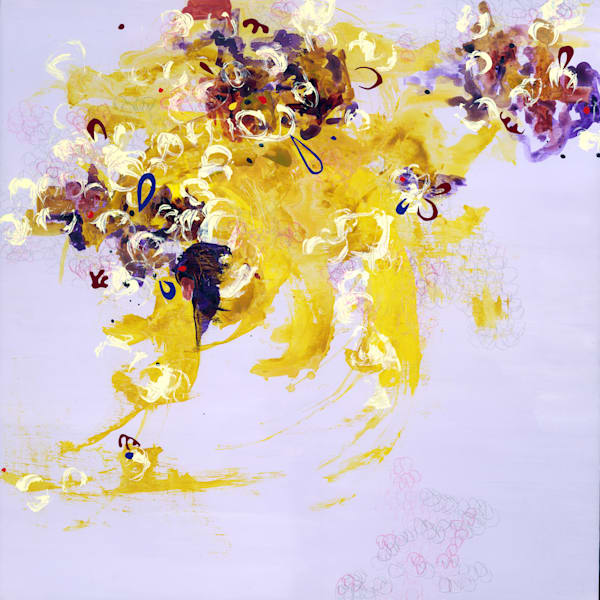 Abstract Art - Violet and Yellow Expressionistic Art for Sale