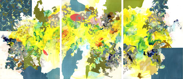 Abstract Art - Botanically Inspired Triptych Art for Sale