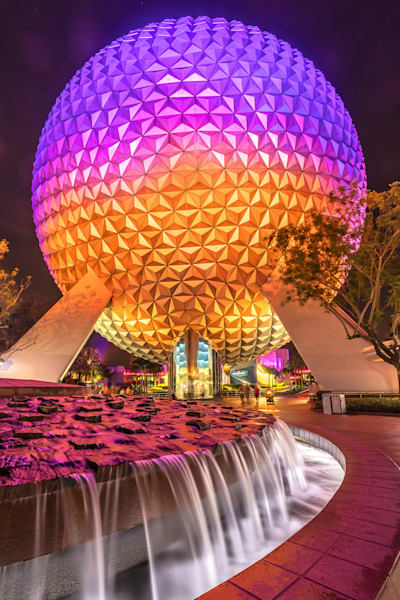 Spaceship Earth at Night 6 - Epcot Art | William Drew