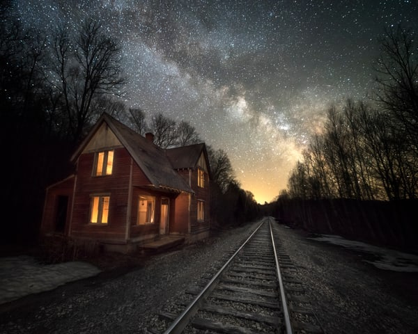 Abandoned Bodfish House with Milky Way and train tracks