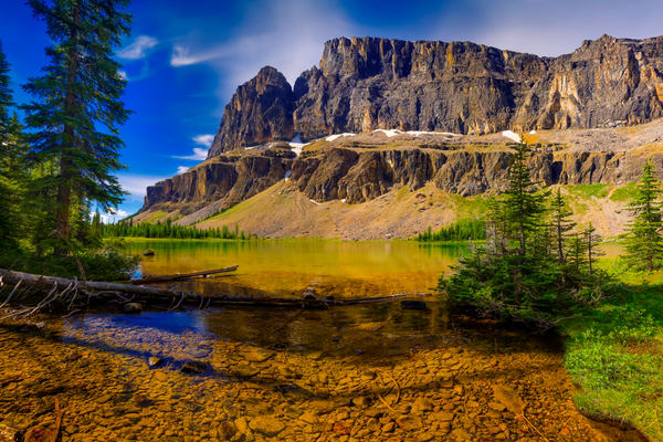 Castle Ridge and Tower - backdrop to Tower Lake.|Banff national Park|Canadian Rockies| Rocky Mountains|