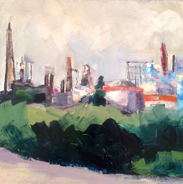"Plein air urban landscape oil painting from the Platt Bridge in Philadelphia, ""Platt Bridge Oil Refineries""."