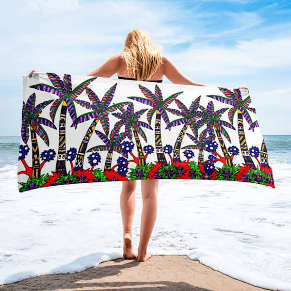 Tropical Red Beach Towel