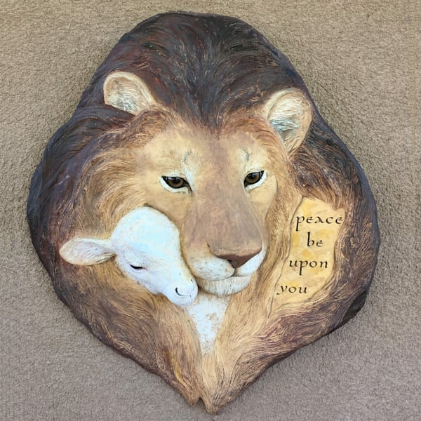 Lion and Lamb wall sculpture blesses your home