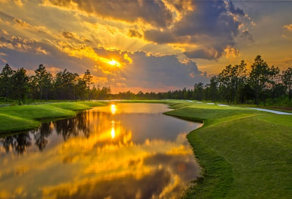 The Sun Sets - 14th Hole at Compass Pointe, Leland, NC