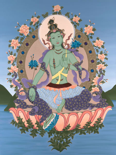 Green Tara Buddhist Thangka - Mother of Compassion by Trish Barker