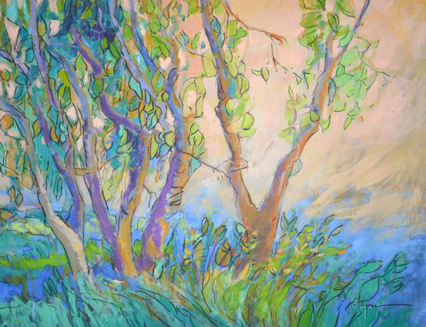 Impressionistic Trees Landscape, Goddess Stepping Out Interpretive Garden Print on Canvas by Dorothy Fagan