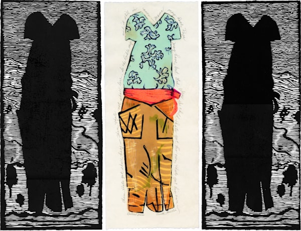 Billie's Dress, triptych, Billie Holliday dress handprinted by Ouida Touchon