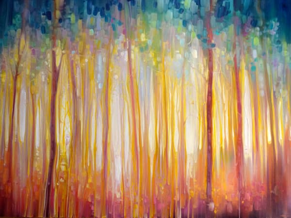 forest landscape painting with unicorn