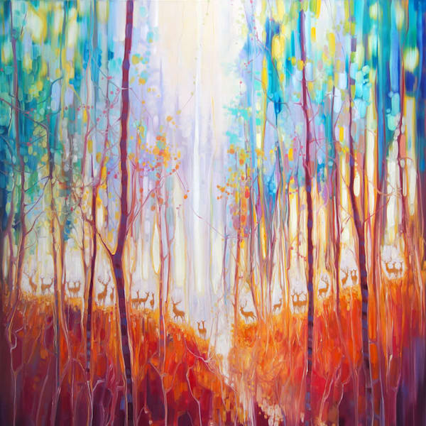 autumn forest landscape painting