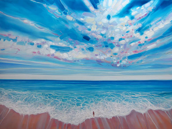 blue seascape painting
