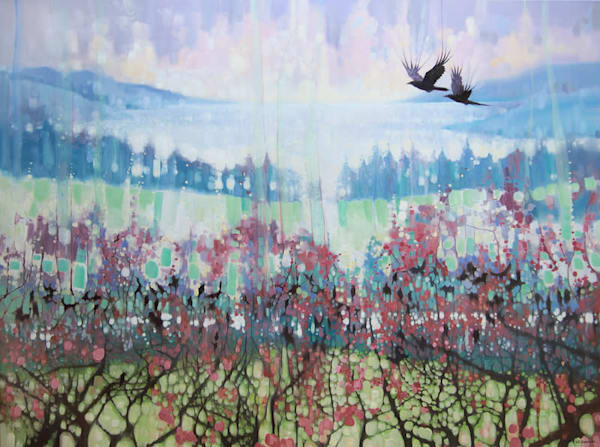 winter landscape painting with crows