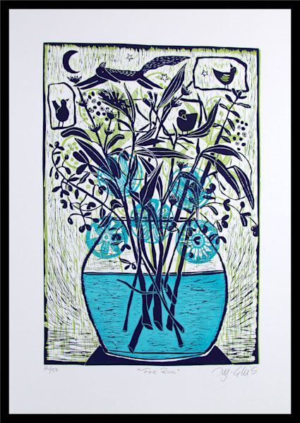 floral linocut with fox, moon and birds by printmaker Mariann Johansen-Ellis, printed in green and navy blue. art, paintings