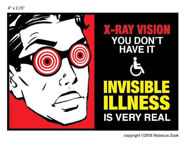 Invisible Illness X Ray Vision Large Sticker by rebeccazook