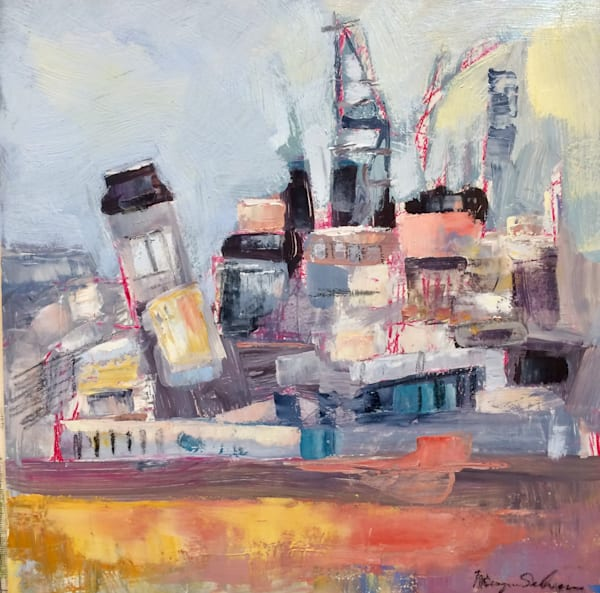 "10""x10"" plein air oil painting of the wonderful navy shipyard in Philadelphia by Monique Sarkessian."