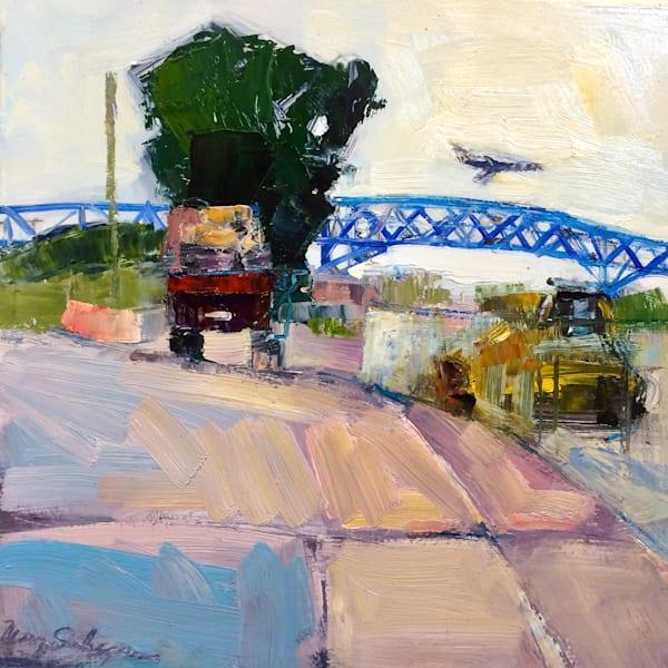 "Plein air urban landscape oil painting from the Platt Bridge in Philadelphia, ""Platt Bridge Lumber Truck""."