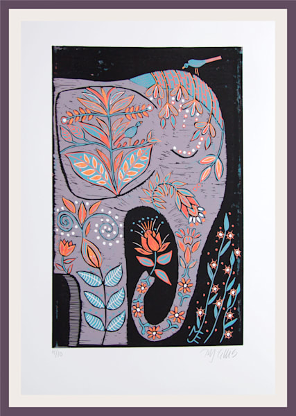 elephant linocut printmaking reduction, grey and strong colors, by printmaker Mariann Johansen-Ellis