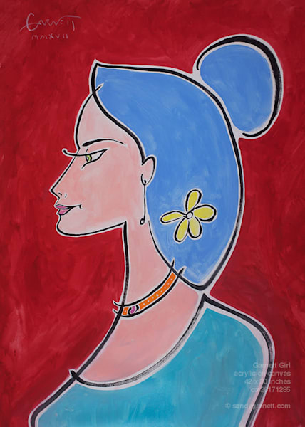 Garnett Girl With Yellow Flowers Art | Sandy Garnett Studio