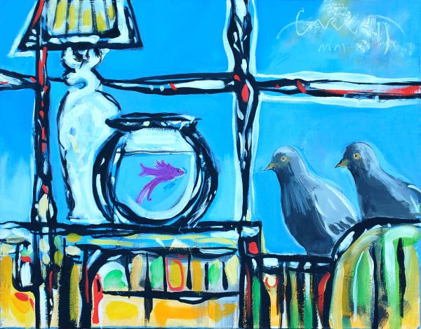 Pigeons And Fish Art | Sandy Garnett Studio