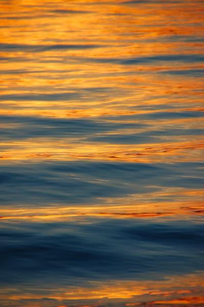 Abstract Ocean Waves Orange Blue