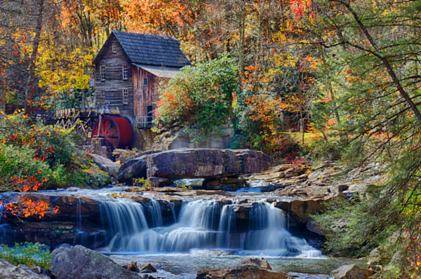 Babcock State Parks famous Grist Mill accompanied by Fall's Foliage