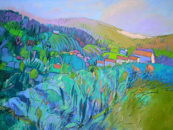 Abstract Tuscan Landscape Art Print on Canvas, Fertile Dream by Dorothy Fagan