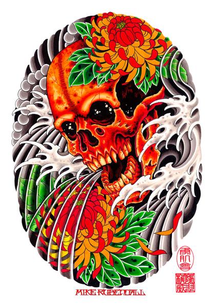Skull And Mums Art | Kings Avenue Tattoo