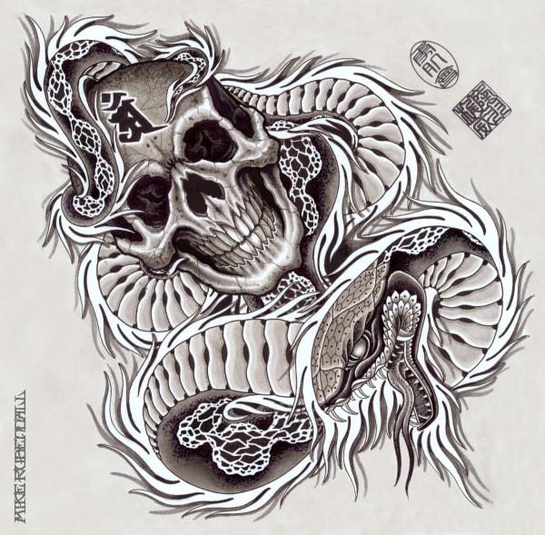 Diamond Skull And Snake Art | Kings Avenue Tattoo
