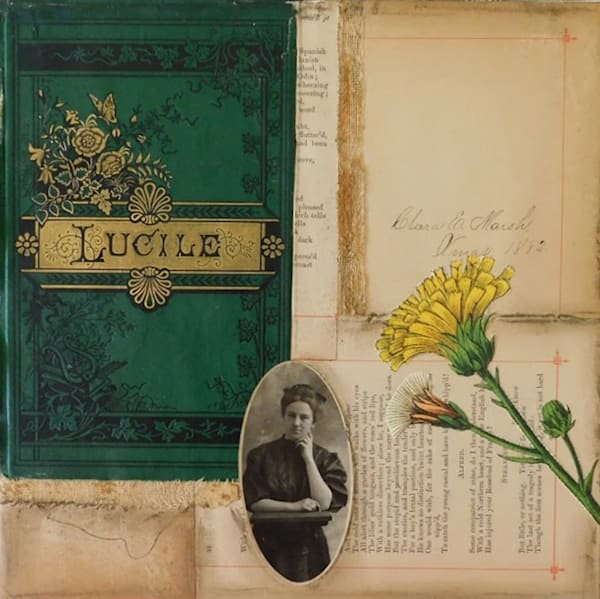 Collage of a deconstructed antique book, with vintage photo and flower print