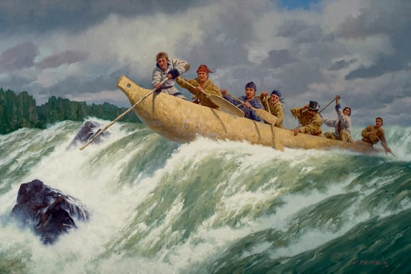 The Corps of Discovery Running the Columbia River by Charles Fritz