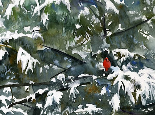 New England Cardinal Christmas Snow Scene Original Fine Art