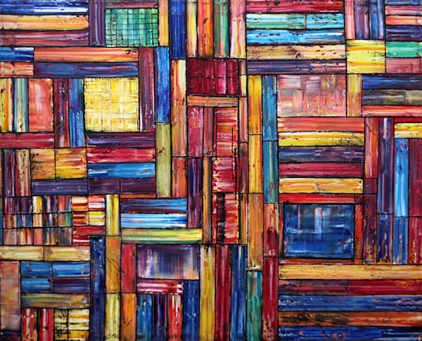 Technicolor! xl geometrical abstract painting