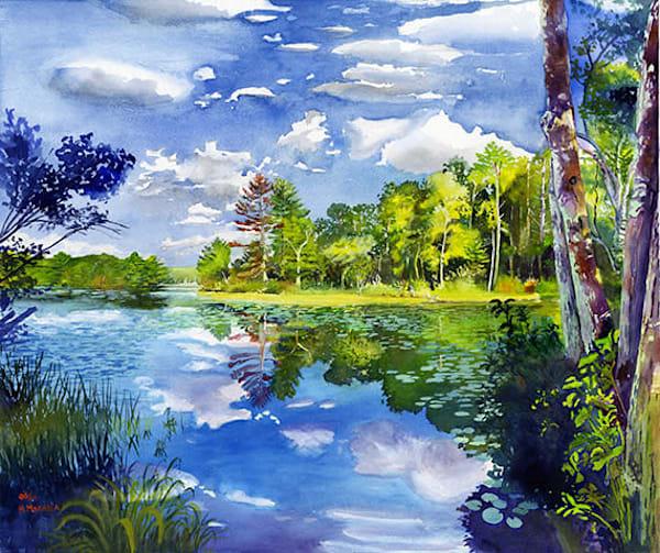 Scenic Rhode Island Tillinghast Lake Landscape Original Fine-Art