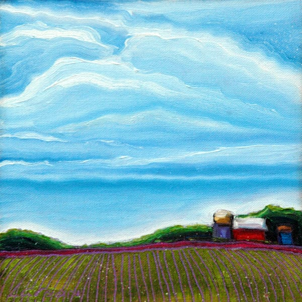 Serene farm life is depicted in 'Cloud Series - Spring Fields.'
