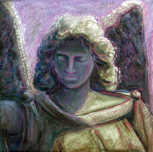 'Guardian Angel' stands watch over us with her radiant purple light.