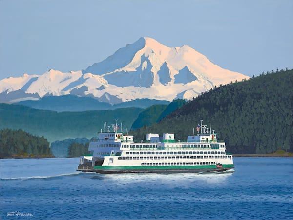 16x20 Washington State Ferry & Mt. Baker On Paper Art | HFA print gallery