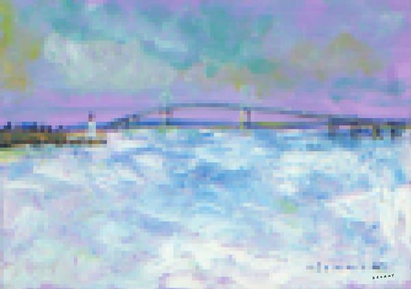 Pell Bridge in Winter Pixel Print