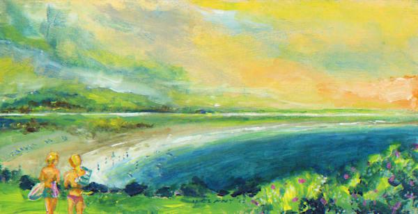 Swim at Second Beach Art Print