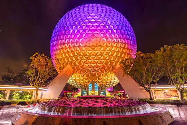 Spaceship Earth at Night 5 - Disney Canvas | William Drew